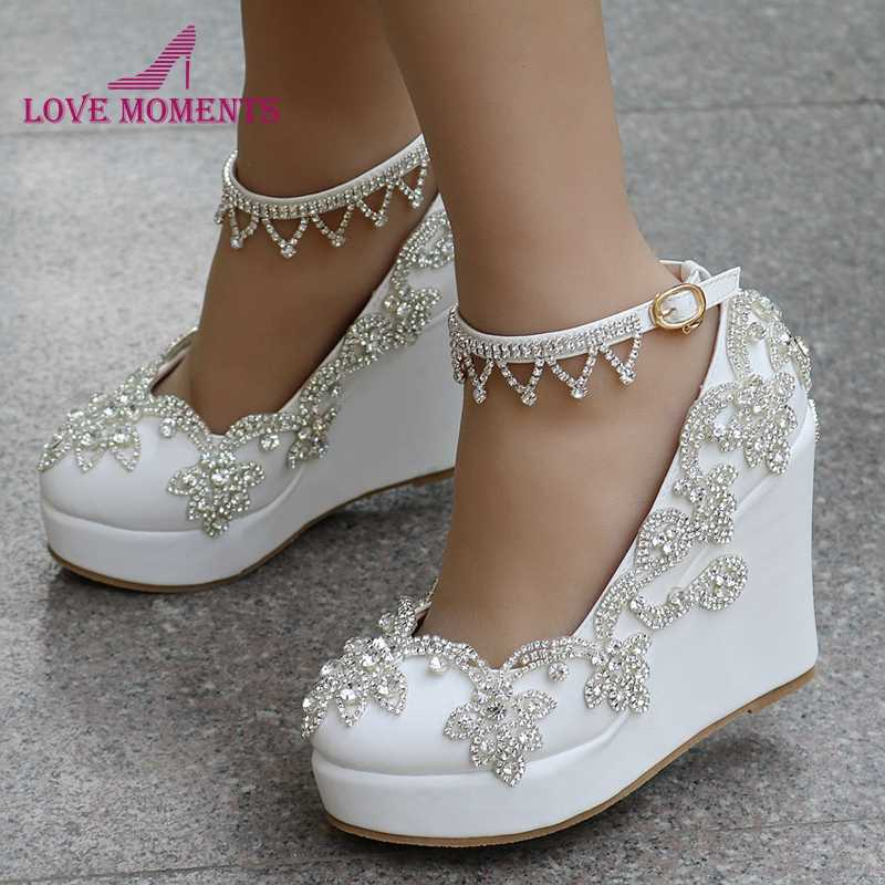 Comfortable Buckle Straps Wedge Heels White Color Wedding Dress Shoes 4  Inches High Heels Platform Mother c6081bae18dc