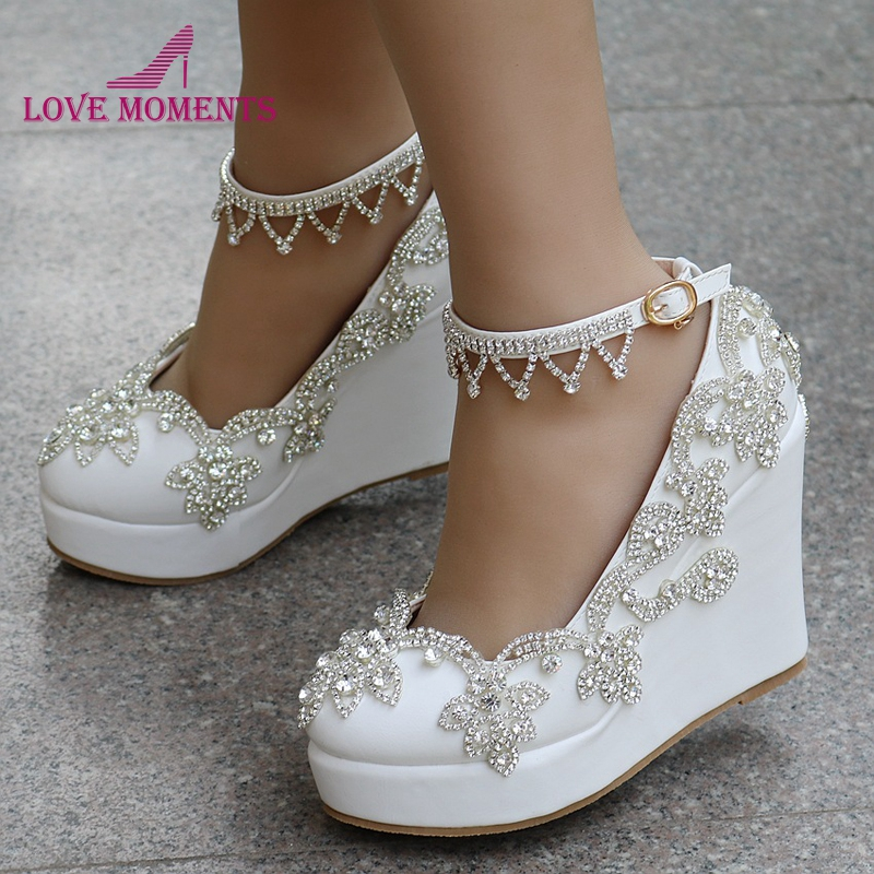 1 Inch Heels For Wedding: Comfortable Buckle Straps Wedge Heels White Color Wedding