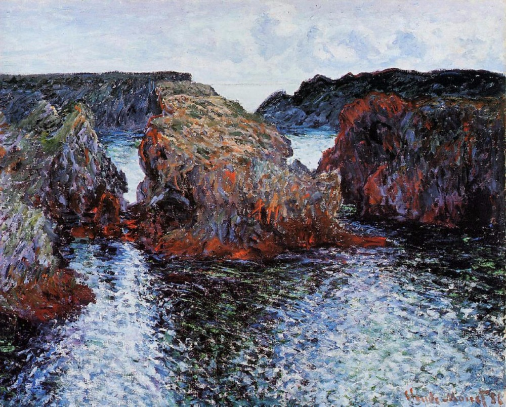 100% handmade oil painting reproduction on linen canvas,belle-ile-rocks-at-port-goulphar,Landscape oil painting100% handmade oil painting reproduction on linen canvas,belle-ile-rocks-at-port-goulphar,Landscape oil painting
