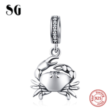 SG new 925 Sterling Silver beads Crab Pendant Charm with Stone Fit original pandora bracelet DIY jewelry making For women Gifts цена и фото