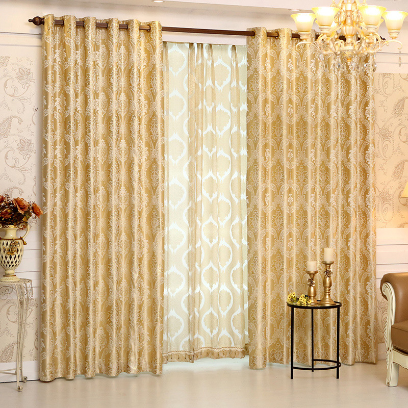 2017 European Gold Gold Jacquard Royal Deluxe Blue Curtain Bedroom Curtain  Living Room Elegant Curtain(
