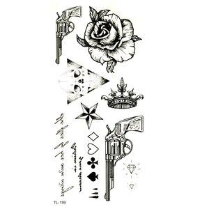 Цветок розы водонепроницаемые Временные татуировки для мужчин поддельные татуировки Револьвер пистолет хна тату наклейки временные тату ...