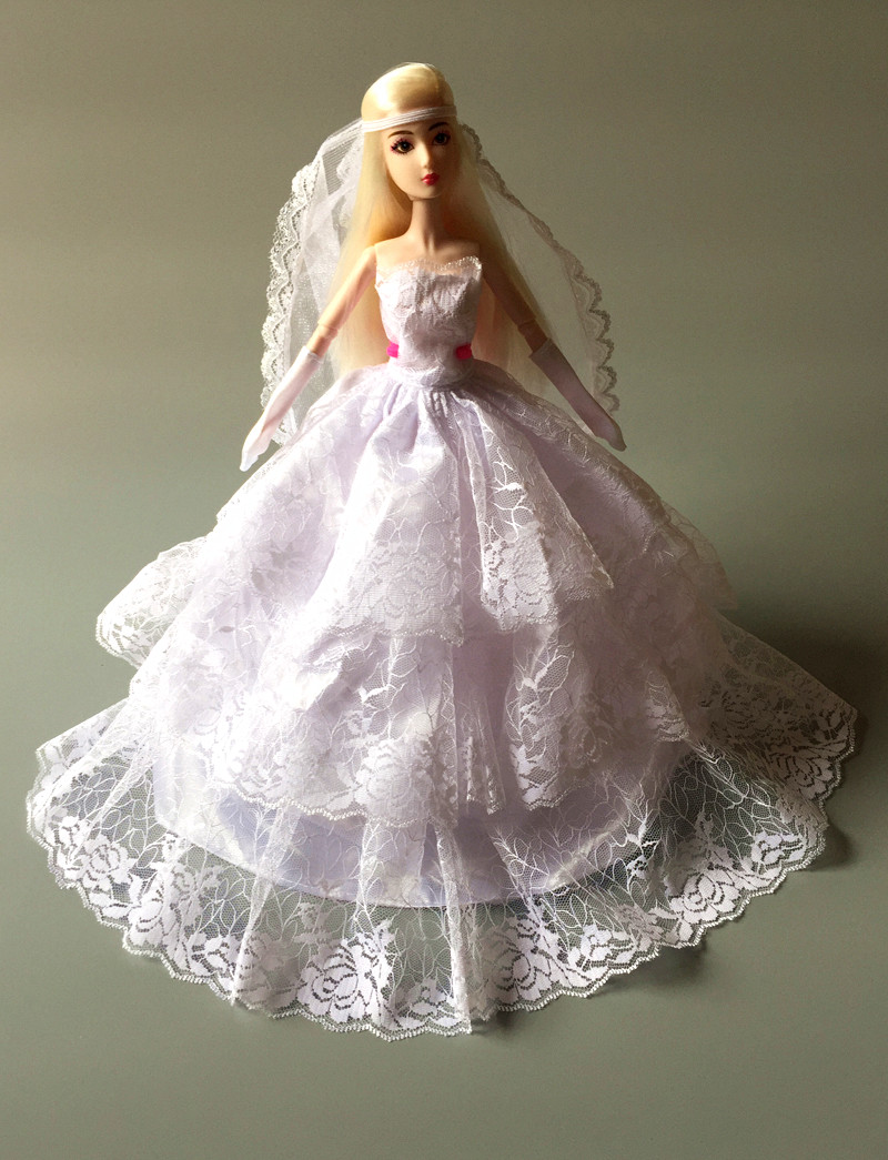 Combine Shipping) Handmade Gorgeous Evening Gown White Lace Flower ...