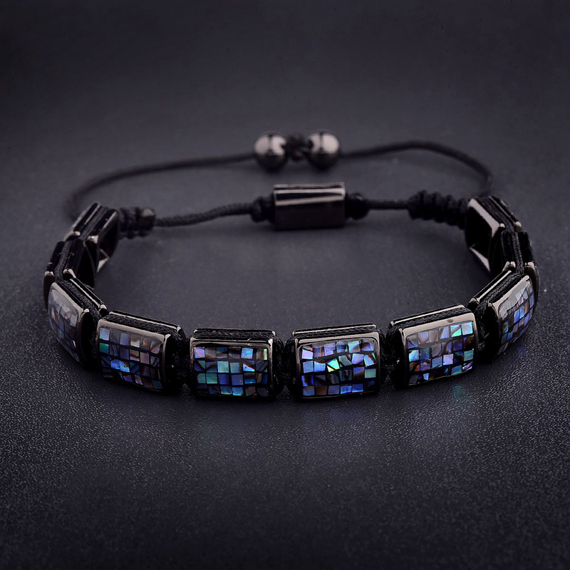 Amader Charm Men High-End Square Abalone Sea Shell Beads Bracelet For Women 10mm Braiding Macrame Bracelets Unisex AB1241 new anil arjandas macrame bracelets 18pcs rose gold micro pave black cz stoppers beads braiding macrame bracelet for men jewelry
