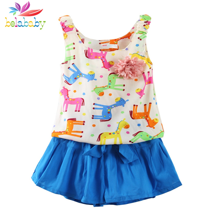 Belababy 2017 New Cotton Baby Girls Clothing Set Children Vest + Pants Set Kids Cartoon Horse Clothes Casual Suits Girl Suit