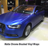 Usual Size 5ft X 65ft Roll High Quality Matte Chrome Brushed Dark Blue Vinyl Wrap Film