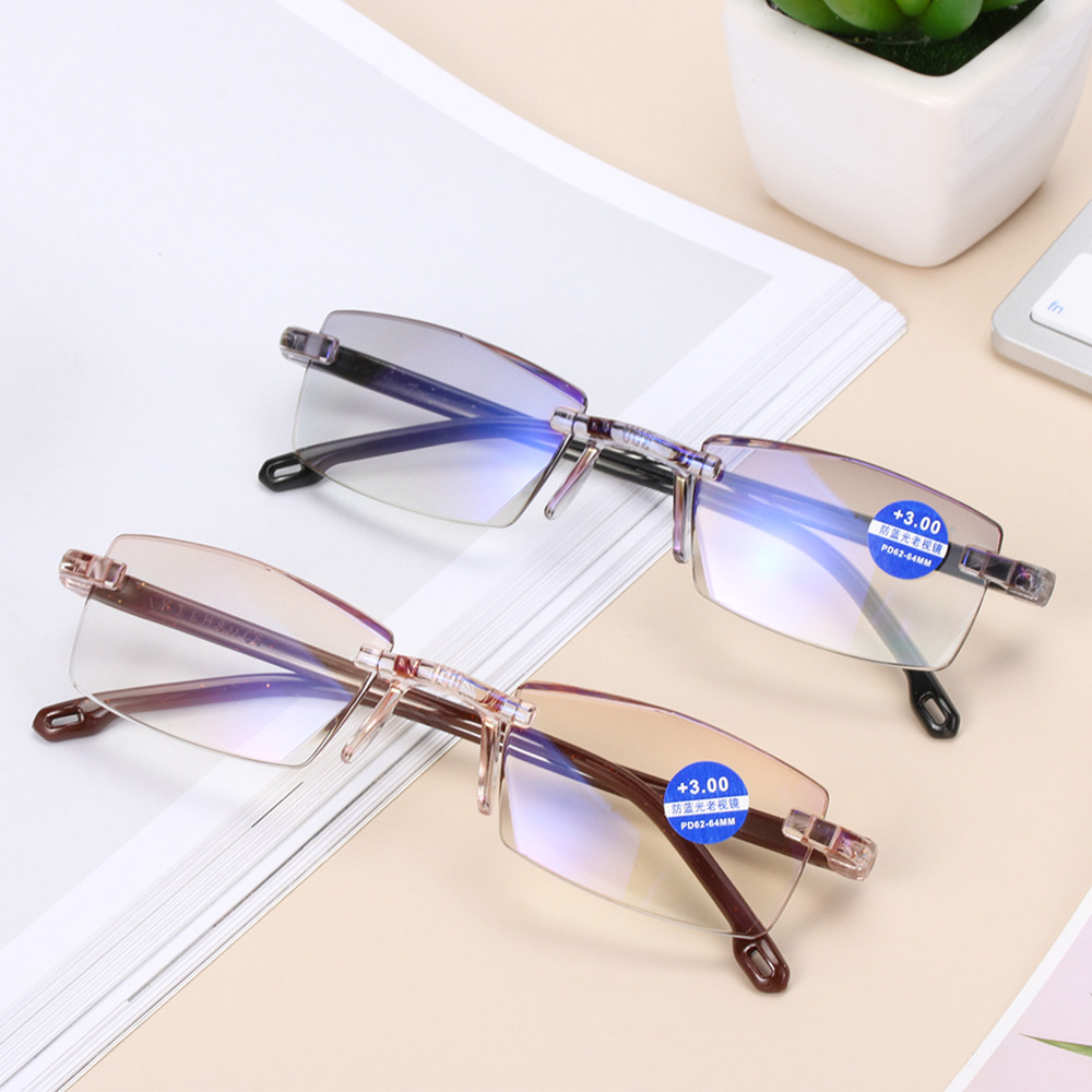 +100-+400 Degree Unisex Ultra Light Rimless Reading Glasses Anti Blue-Ray Radiation Presbyopia Computer Goggles Eye Protection