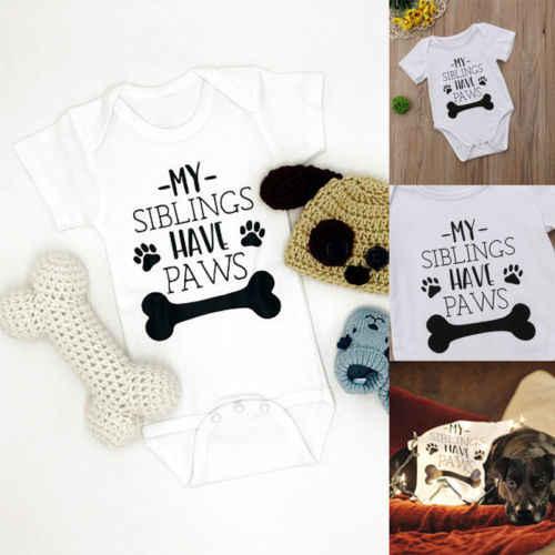Nieuwe Peuter Grappige Hond Bodysuits Katoen Pasgeboren Baby Jongen Meisje Korte Mouw Babygrows Bodysuit Zomer Kinderen Kleding Outfits
