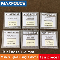 Table glass mineral glass Single dome thickness 1.2 mm diameter 20 mm to 39.5 mm Ten piece