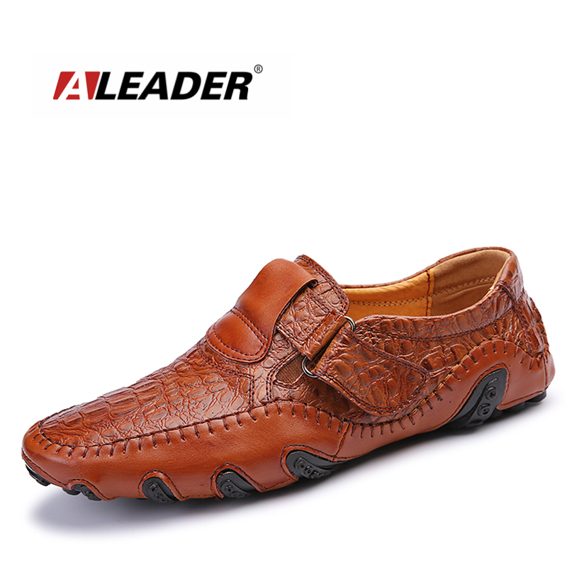 Aleader New Men Shoes Casual Big Size Comfortable Flats Shoes For Men Leather Designer Slip On Loafers Fashion Driving Moccasins new style comfortable casual shoes men genuine leather shoes non slip flats handmade oxfords soft loafers luxury brand moccasins