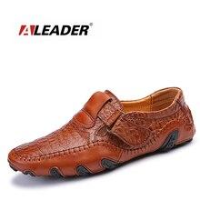 Aleader Hombres Nuevos Zapatos de Tamaño Grande Ocasionales Cómodos Zapatos de Los Planos Para Los Hombres Diseñador de Moda Mocasines Conducción Resbalón En Holgazanes de Cuero