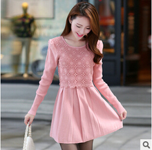women jacket Women s hedging knit sweater dress and long sections Slim Korean sweater coat free