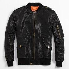 2017 мужские черные Top Gun кожаная куртка пилот плюс Размеры 6XL мужские зимние свободные русский кожаные пальто фабрики Бесплатная доставка