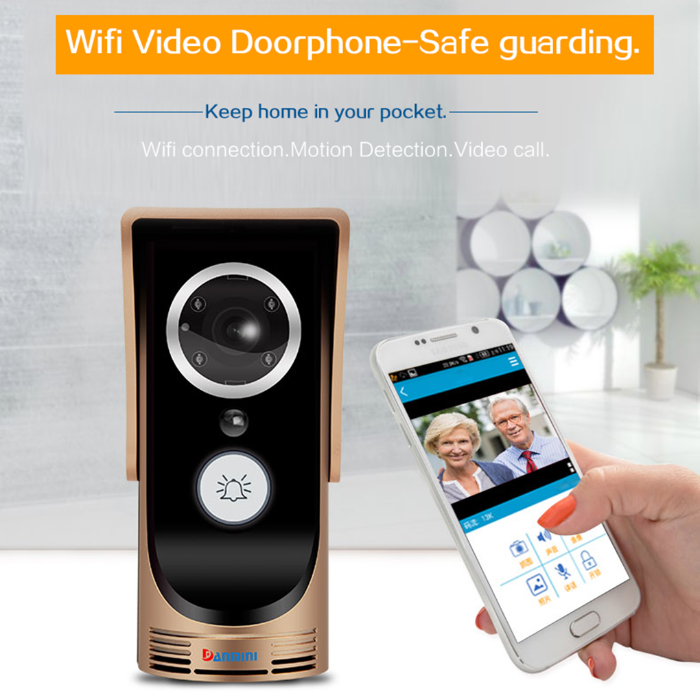 Smart WiFi Video Doorbell Peephole Viewer Remote Unlocking Doorbell For Smart Home Security Monitoring ...