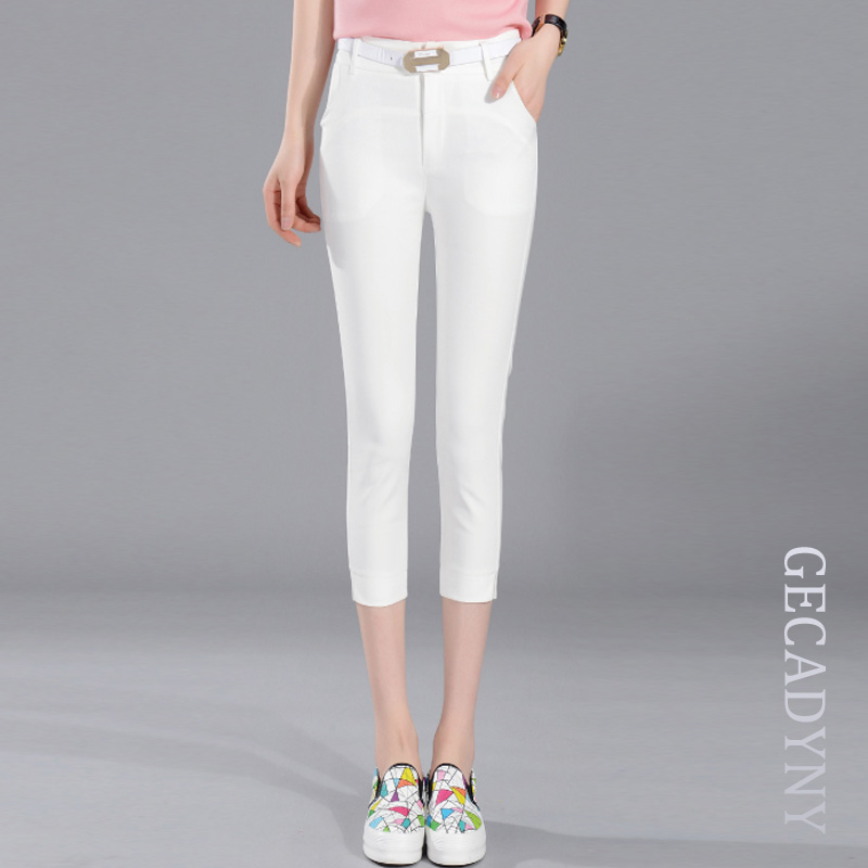 New Arrival Fashion Women Candy Color   Pants     Capris   Solid Color Office OL Casual   Pants   Summer Slim Cropped   Pants   Trousers S-XXL