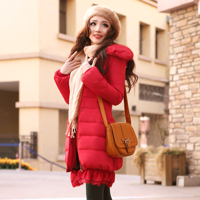 2013 New Winter Long Thick Slim Down Coat Women Lapel Hooded Bubble Sleeve Removable Lace Pleated White Duck Down Jacket H1018