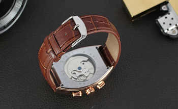 FORSINING Auto Men\'s Wristwatch Retro Vintage Tonneau Rose Gold Case Relogio Tourbillon Male Clock Date Day Mechanical Watch