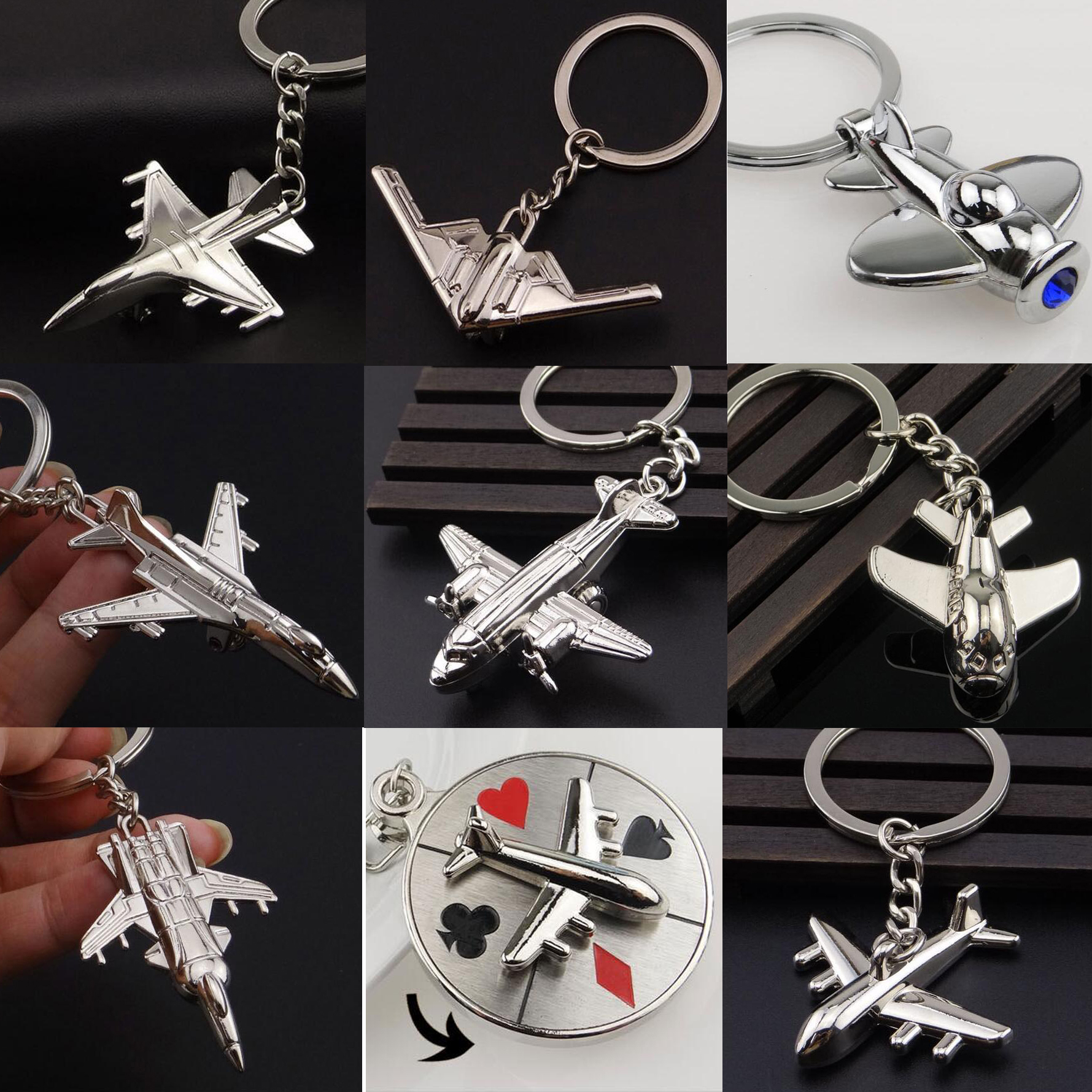 Keychains For Men Car Bag KeyRing Air Plane Model Fighter Toy Air Plane Model Fighter Aircrafe Travel Fashion Gift