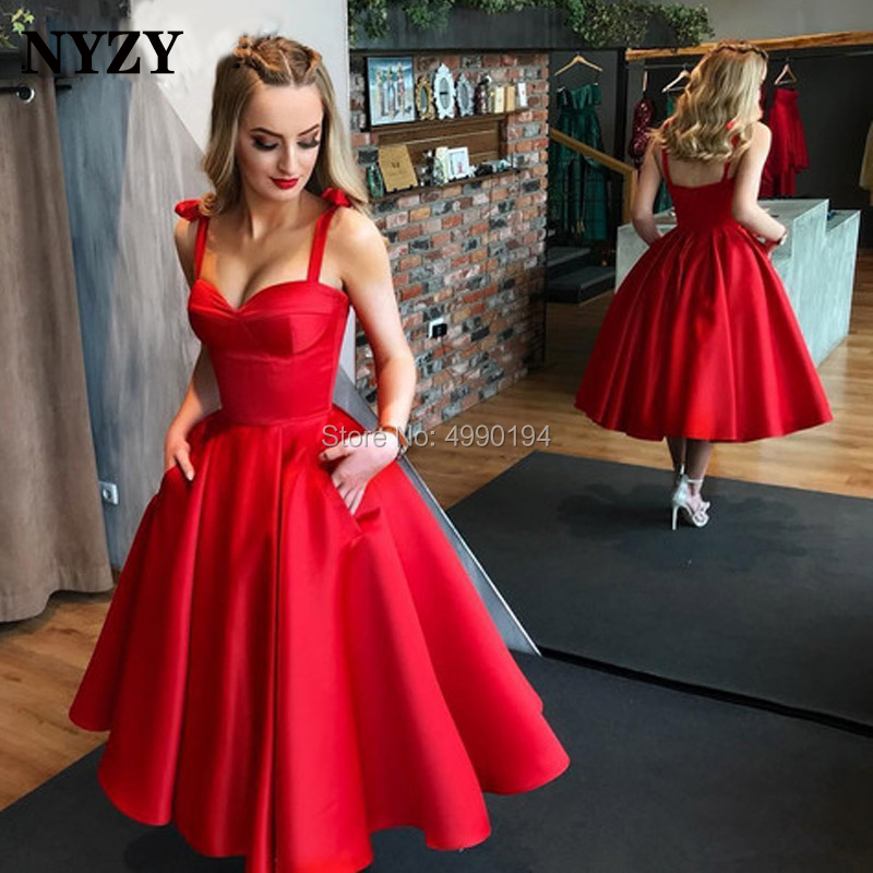 NYZY C140 Vintage 50s 60s Satin Ball Gown Red Evening Dress Tea Length Bow Straps Pocket Robe Cocktail Dresses Party 2019