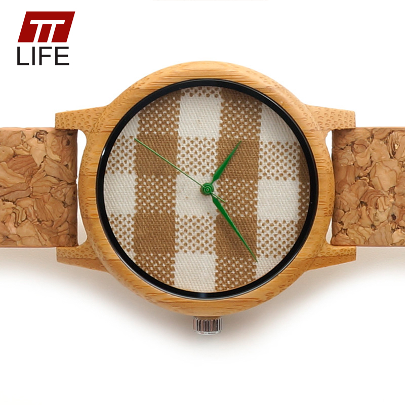 ФОТО TTLIFE Plaid Dial Handmade Mens Bamboo Watches With Genuine Cowhide Leather Band Green Watch Hand Wooden Wrist Watches With Box