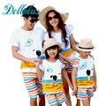 2017 mãe e filha combinando roupas define t-shirt + short da praia pai e filho roupas casuais definir família correspondência