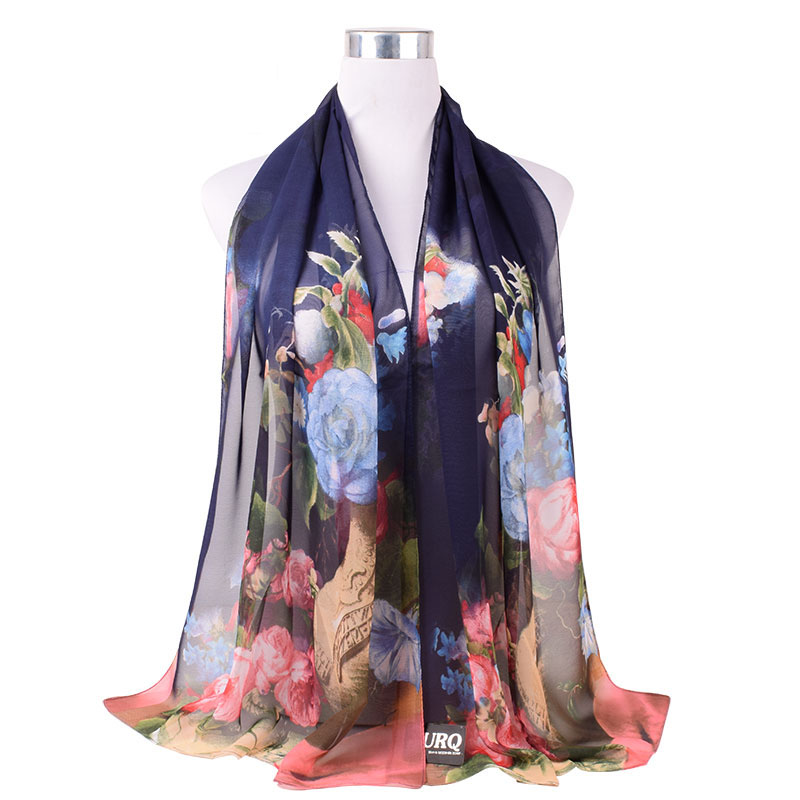 Chiffon Scarf For Women Design Flowers Print Polyester Silk Scarf Scarves Shawl Summer Sunscreen Wraps Femme Foulard P5A16564