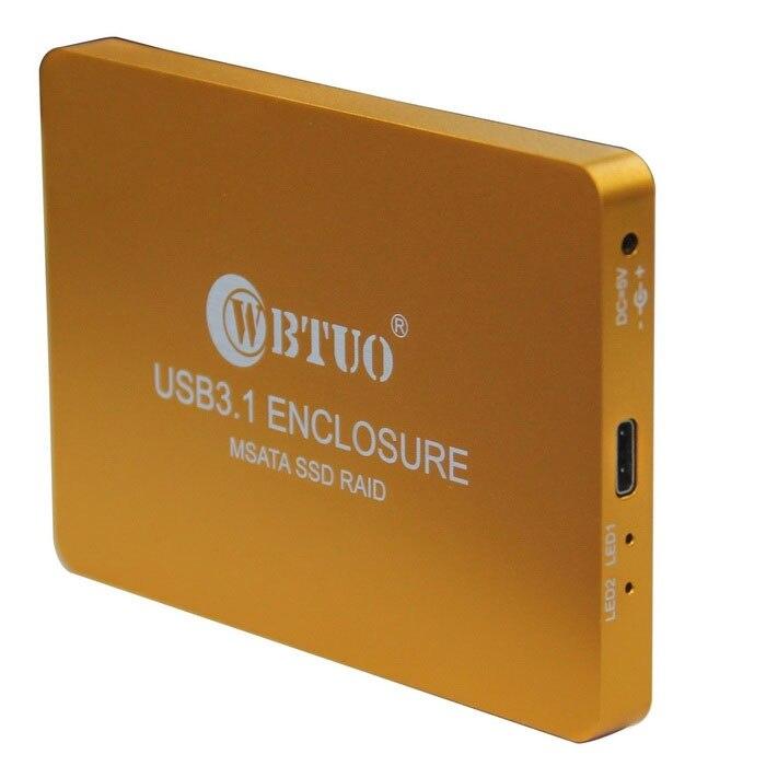 Q15742 Golden WBTUO USB3.1 Type-C to 2-Ports MSATA SSD RAID HDD Enclosure