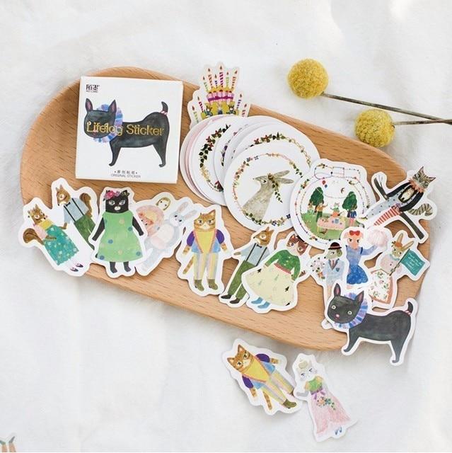 45 sztuk/pudło las koncert zwierzęta Mini papier dekoracja naklejki Album DIY pamiętnik Scrapbooking naklejki etykiety Kawaii biurowe