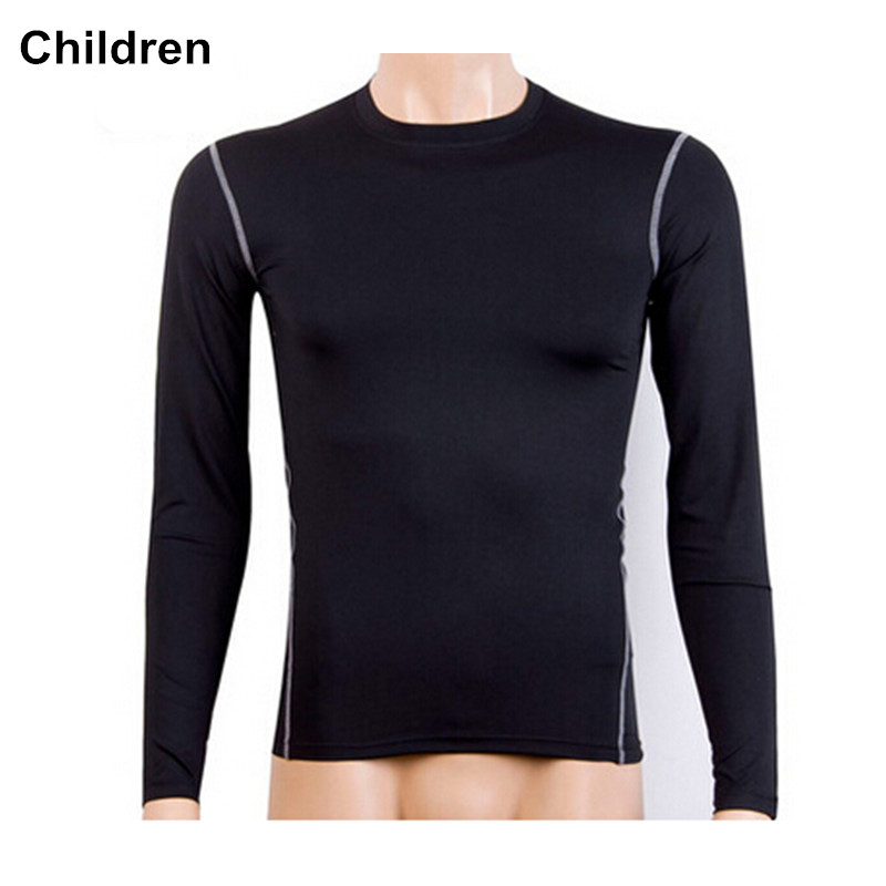 #1019K Children Kids Boys Gym Sports Running Compression Body Base Layer Thermal Under Top Long Sleeve Shirt  Height 120-150cm