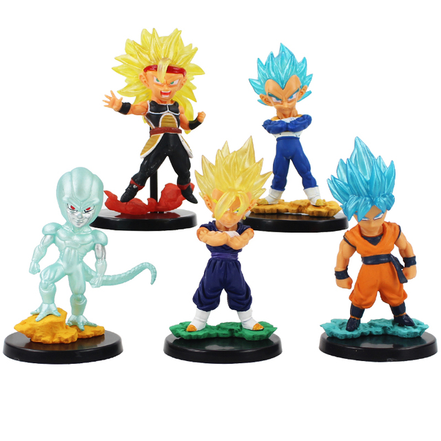 8cm Anime Dragon Ball Z Super Saiyan Big Head Son Goku Frieza Gogeta With Black Base Cute PVC Action Figure Model Collection Toy