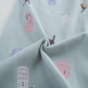 Image 5 - Long Sleeve Cotton Pajama Set 2018 Turn down Collar Sleepwear Spring Autumn Winter Women Pijama Mujer Cute Cartoon Pyjamas Femme