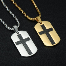 Christian Jewelry Dog Tags Cross Necklace Stainless Steel Pendant