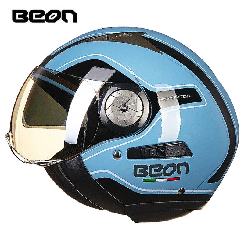 BEON fashion motorcycle helmet scooter helmet retro helmet double lens moto casco B 216