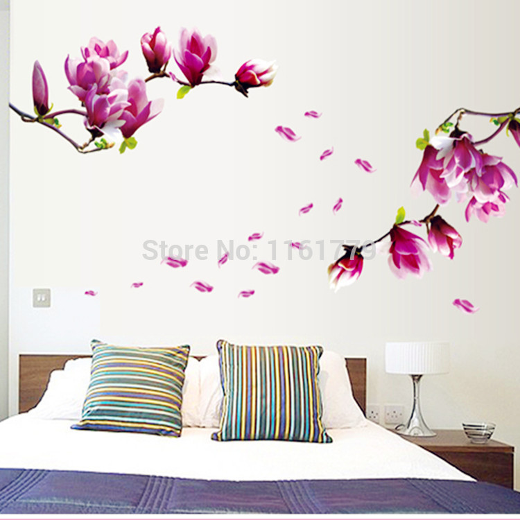 Removable Flower Home Art Decor Wall Stickers Chaste magnolia purple ...