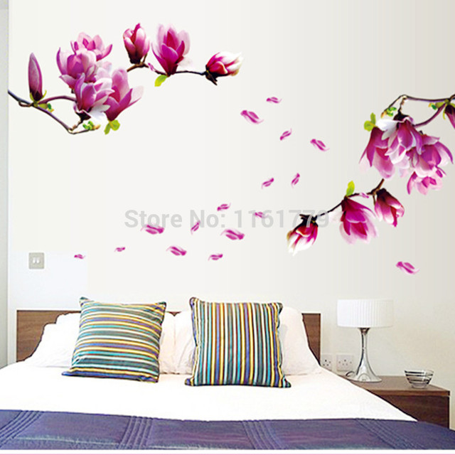 removable flower home art decor wall stickers chaste magnolia purple