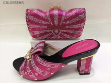Pink Color Italian Matching High Heel Shoes and Handbag Sets African Women  Wedding Party Rhinestones Shoes 6db025cb6dfe