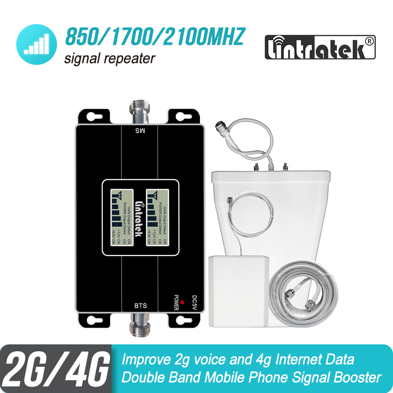 Lintratek 850/1700/2100 MHz Cellular Signal Repetidor 2G CDMA 850 Mhz 4G AWS 1700 MHz Booster Amplifier GSM LTE Antenna Kit #9