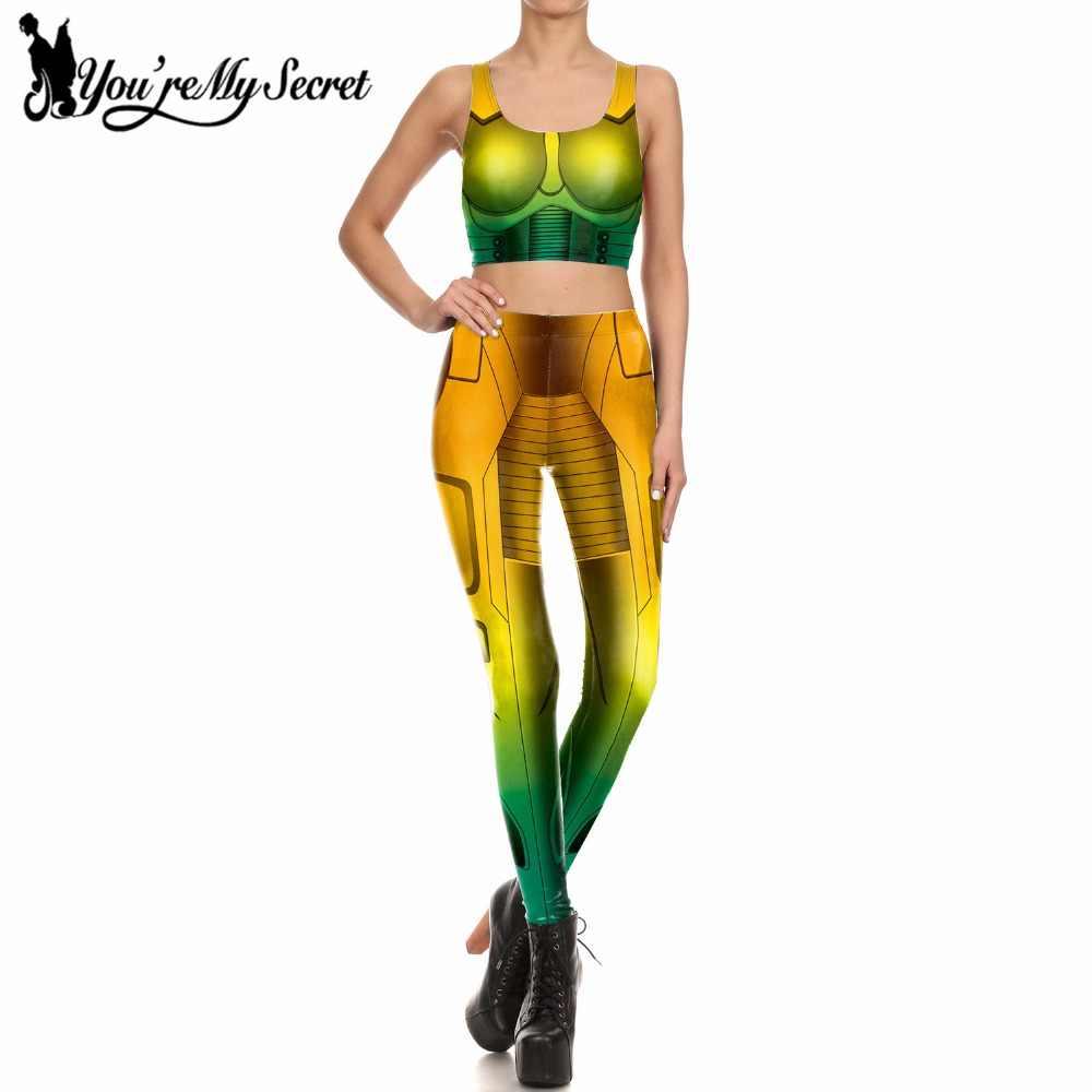 [Tu és O Meu Segredo] herói Mulheres Partido Cosplay Leggings Definir Mulheres Leggins Aptidão Armadura 3D Digital Impresso Conjuntos de Treino Calças Mujer