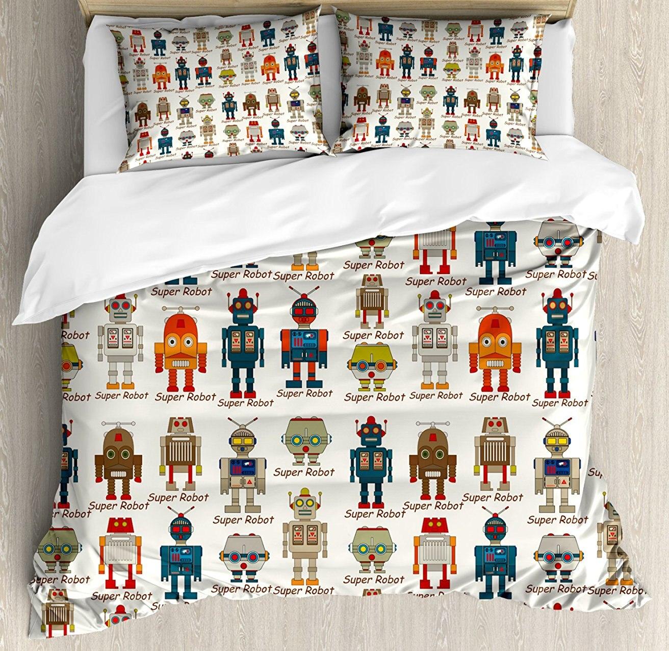 Enfants housse de couette ensemble divers différents Super Robot Figures ensemble dans le Style de bande dessinée fantaisie futuriste Machine décor ensemble de literie