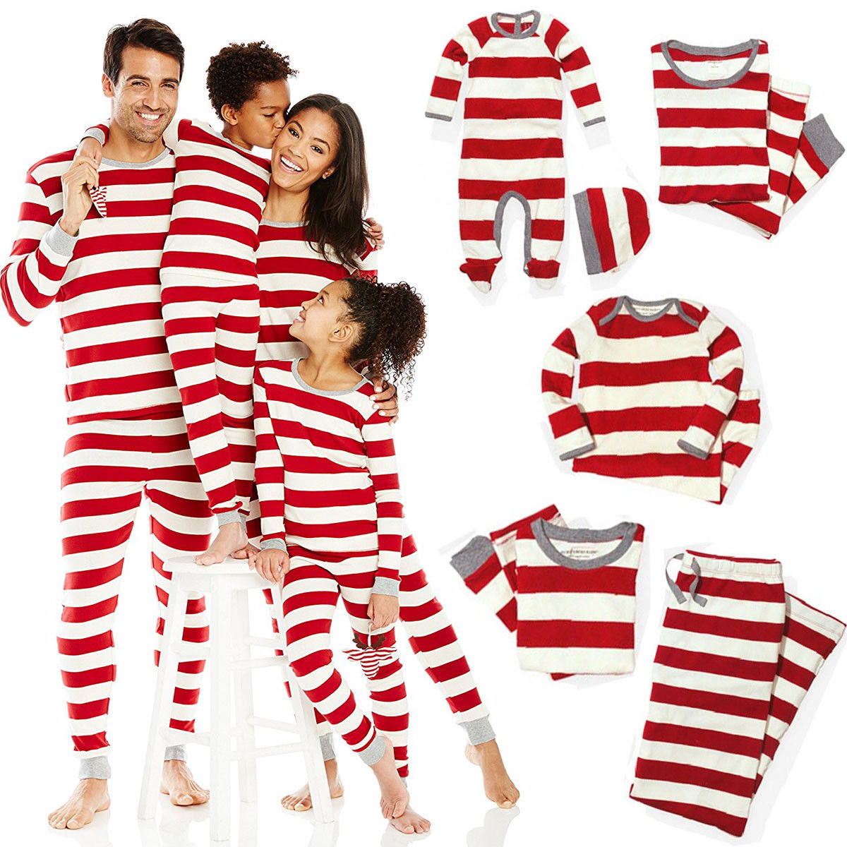 Xmas Striped Family Matching Outfits Set Christmas Family Pajamas Set Adult Kid Sleepwear Nightwear Pjs Photgraphy Prop Clothing