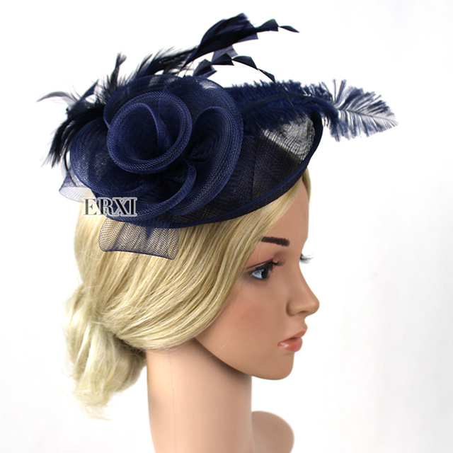 New arrival Navy Blue feathers fascinator hat baa34b63c15