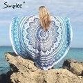 Simplee Vintage floral print tassel blanket Summer beach round towel Women swimming sunbath blanket