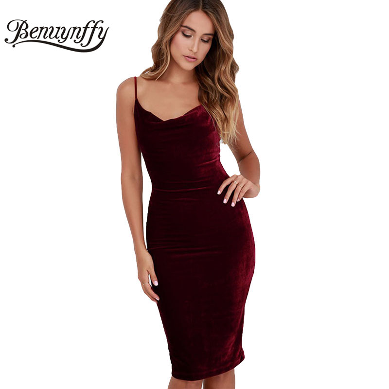 Benuynffy Frauen Sexy Spaghetti strap Midi Kleider Elegant Feste Samt Club Party Backless Einteiliges Bodycon Bleistift Kleid Q856