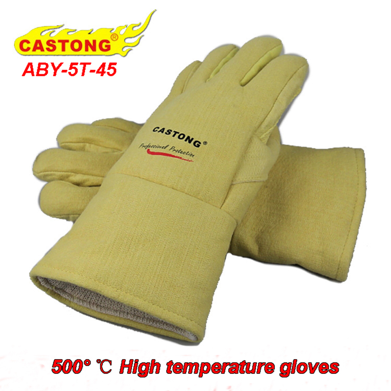 CASTONG 500 High temperature gloves Thicker palm Flame retardant fire gloves oven Bake Heat treatment Anti-scald safety gloves 250 degrees heat insulation gloves high temperature resistant gloves to hot flame retardant anti scald fire aramid fiber woven