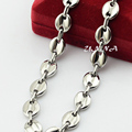 10MM Big Chunky Stainless Steel Link Chains Necklace Mens Necklace Women Jewelry Coffee Bean Style Bracelets (NO RED BOX)
