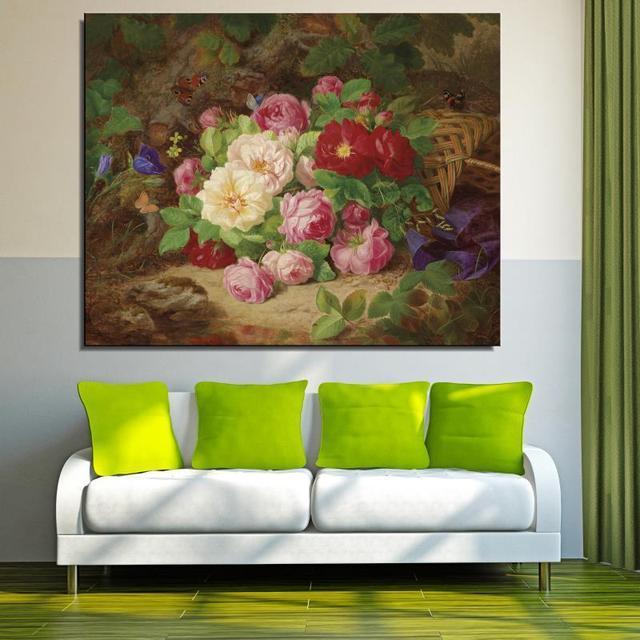 Peony Lily Bunga Mawar Klasik Dibingkai Kanvas Lukisan Minyak Frameless