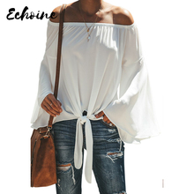 Echoine Black/White/Gray Off The Shoulder Slash Neck Long Sleeve Tie Blouse Shirts Women Sexy Plus Size S-2XL Casual Tops