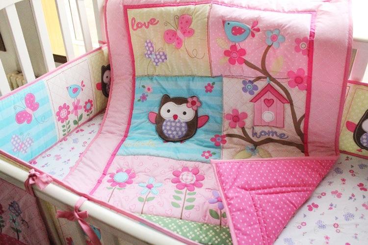 Promotion! 7PCS Crib Bedding Set 100%Cotton crib set baby bedding set (bumper+duvet+bed cover+bed skirt)
