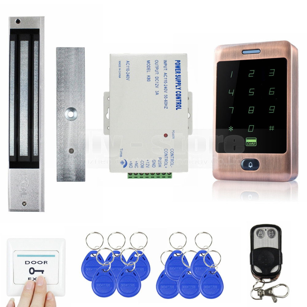 DIYSECUR 125KHz RFID Reader Password Keypad + Magnetic Lock + Remote Control Door Access Control Security System Kit diysecur touch panel rfid reader password keypad door access control security system kit 180kg 350lb magnetic lock 8000 users