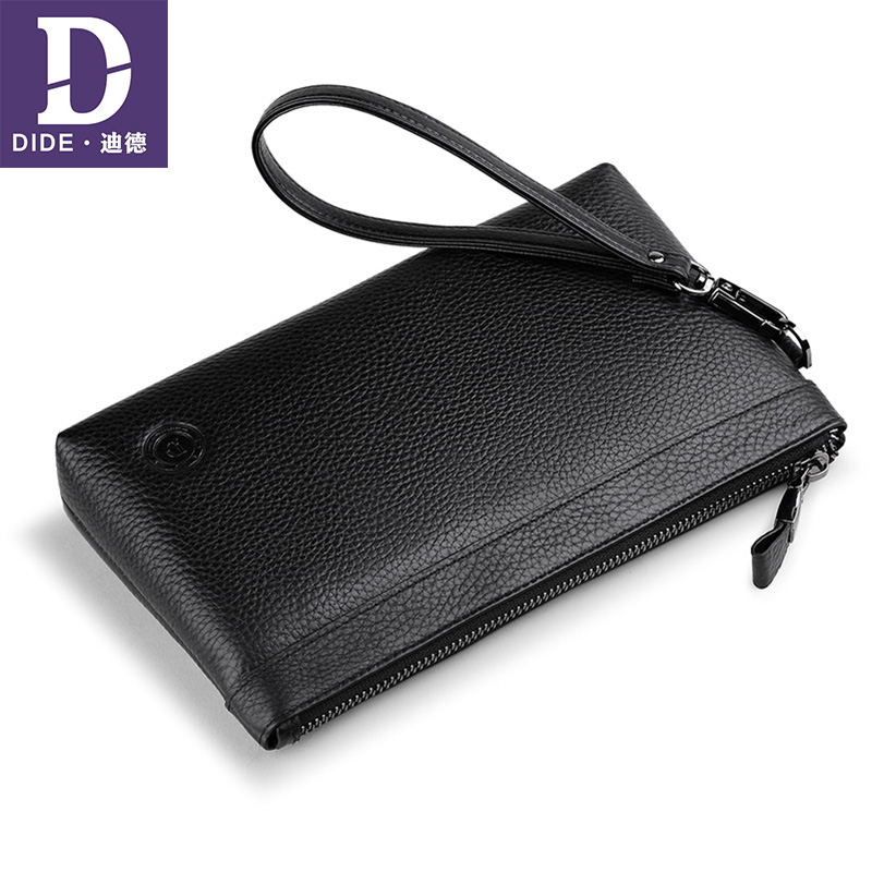 DIDE Organizer Wallet Purse Card-Holder Clutch Business Zipper Large-Capacity Male Genuine-Leather